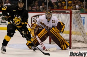 Featured Image: Gopher goalie Adam Wilcox will be staring down some unfamiliar foes this season in the Big Ten. (MCM Photo / © Jeff Wegge)