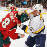Featured Image: The Wild's Zenon Konopka and Nashville's Rich Clune engage in a scrap in the Wild's 2-0 win over the Predators on Tuesday, Oct. 22, 2013, in St. Paul, Minn. (Photo: Getty Images/Bruce Kluckhohn)