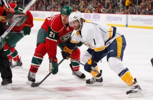 Featured Image: Matt Cullen tangles with former teammate Kyle Brodziak in the Wild's 2-0 win over the Predators on Tuesday, Oct. 22, 2013, in St. Paul, Minn. (Photo: Getty Images/Bruce Kluckhohn)