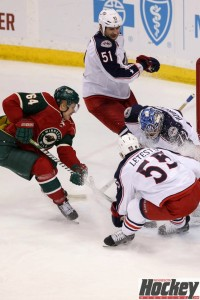 Mikael Granlund drives hard to the net against Columbus. (MHM photo / Copyright Jeff Wegge)