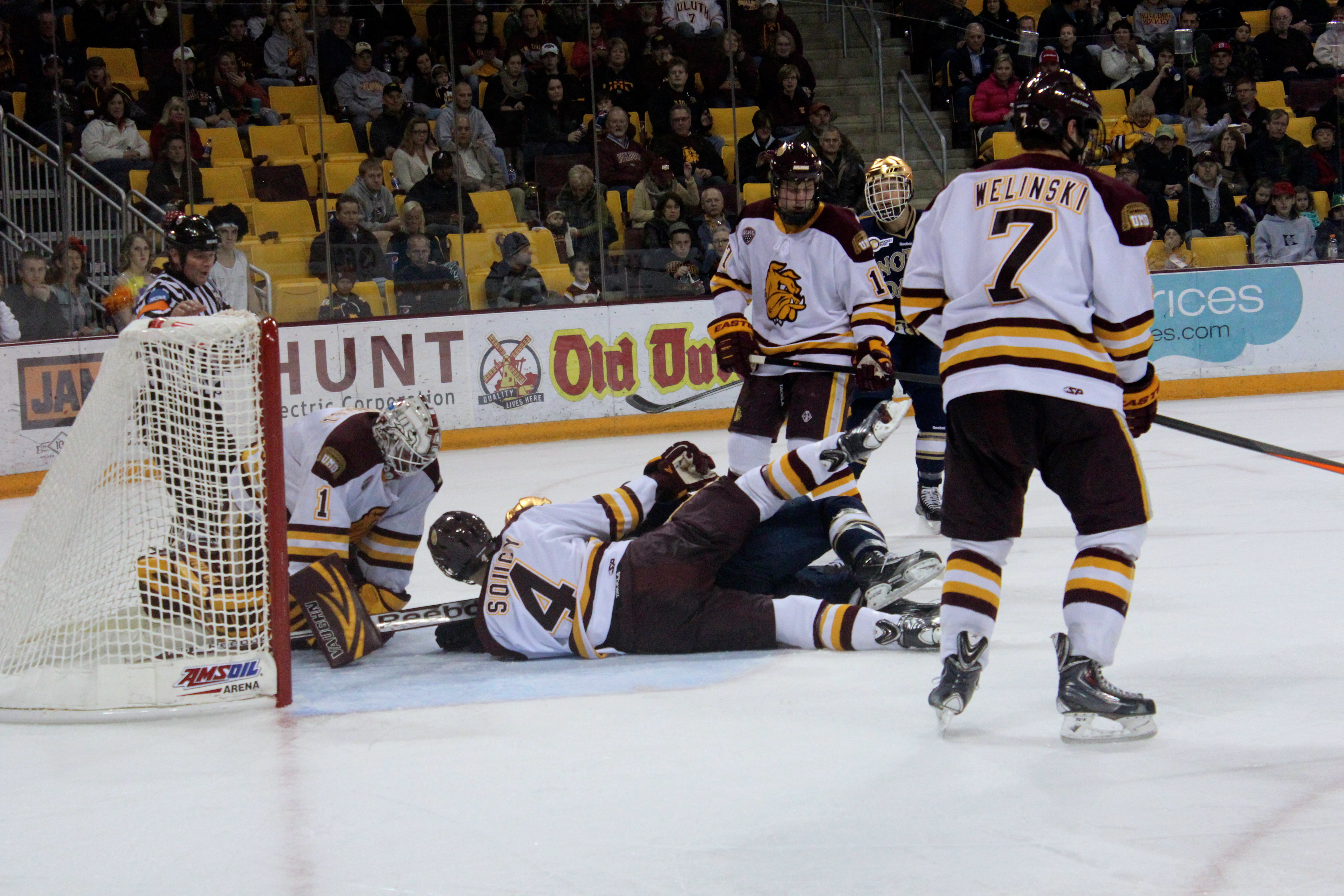 UMD's Carson Soucy (#4) in action on Oct 26, 2013 in a 4-1 Win over Notre Dame at Amsoil Arena in Duluth, MN. Photo credit - Rylie Heilman UMD.
