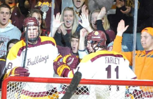 Featured Image: This is a scene UMD's Joe Basaraba and Austin Farley hope to repeat often in the NCHC's inaugural season. (Photo: Minnesota-Duluth Athletics)