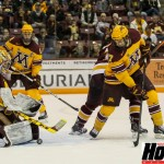 Featured Image: Gophers F Seth Ambroz, shown in action Nov. 24, 2013 against UMD, scored twice in Minnesota's 4-1 win over Wisconsin. (MHM Photo / Jeff Wegge)