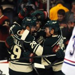 Featured Image: Jason Pominville and Mikael Granlund celebrate assisting on Nino Niederreiter's third-period goal on Friday, Nov. 1, 2013, in St. Paul, Minn. The Wild defeated Montreal 4-3. (MHM Photo / Jordan Doffing)