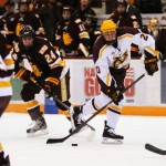 Featured Image: Freshman Michael Brodzinski had a goal and an assist in Minnesota's 6-1 win over UMD on Friday, Nov. 22, at Mariucci Arena. (MHM Photo: Jordan Doffing)