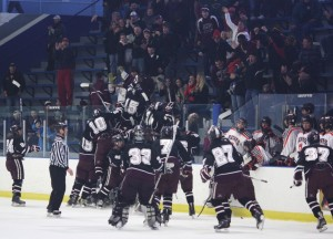 The Governors celebrate a remarkable section playoff comeback win over White Bear Lake in 2012. (Submitted photo)