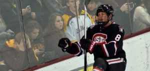 Cory Thorson boosted SCSU's lead over UMD to 4-1 in the second period on Sat., Dec. 7, 2013 at Amsoil Arena. (Photo: St. Cloud State University Athletics)