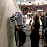 Featured Image: Gina Carlson interviews SCSU defenseman Ben Storm (Photo: Alex Curtis)