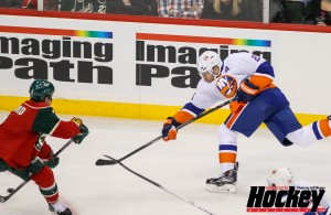 Featured Image: Kyle Okposo scores the first of two go-ahead goals in the third period of the Islanders 5-4 win over the Wild on Dec. 29, 2013 in St. Paul. (MHM Photo/Jeff Wegge)