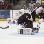 Featured Image:Colgate goaltender Charlie Finn watches a Minnesota shot in the third period at Mariucci Arena on Friday, January 4, 2014, in the Raiders' 3-2 shootout win over the Gophers at the Mariucci Classic.(COPYRIGHT: Ryan Coleman, d3photography.com)