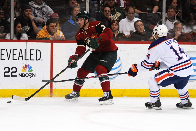 Nate Prosser during Minnesota's 4-1 win over the Edmonton Oilers. Photo Credit ~ Jordan Doffing.