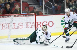 Darcy Kumper pokes a puck away from an attacker against Texas on Nov. 1, 2013. (Photo: Reese Strickland/Iowa Wild)
