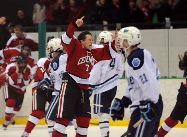 The celebration was on for Colin Hughes after Centennial's section title win. (MHM Photo / Jordan Doffing)
