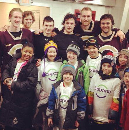 The Concordia hockey team poses with the New Directions Hockey  program folllowing the inSports even in January.  (Photo courtesy of inSports Foundation)