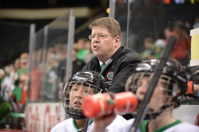 Scanlan, on the bench as his East Grand Forks team tooks on Litchfield/Dassel-Cokato in the class 1A quarterfinal game at the Xcel Energy Center in St. Paul, Wednesday, February 19, 2014. (Pioneer Press: John Autey)