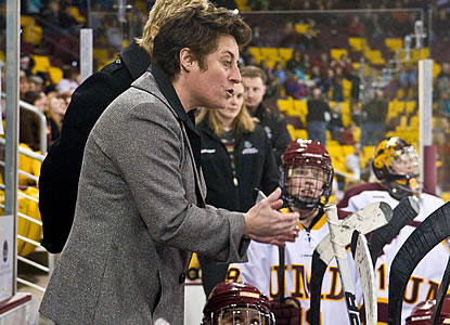 Shannon Miller is beginning her 16th season behind the Bulldogs' bench after leading Team Canada to a silver medal in the 1998 Olympics in Nagano, Japan. (Photo / WCHA.com)