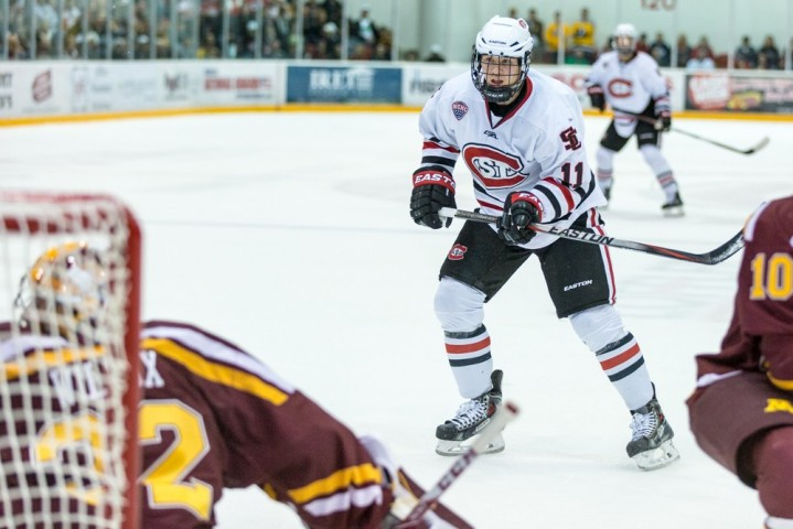 SCSU's Kalle Kossila's two-point night (1-1--2) helped lift the Huskies over the Gophers on Friday. (SCSU Athletics Photo / Brad Olson)