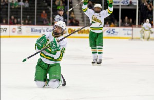 Edina's Dylan Malmquist has been striking this pose a lot lately and the Hornets have their sites on a third straight state championship. (MHM Photo / Tim Kolehmainen)