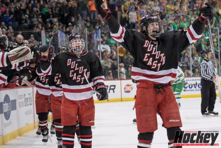 Duluth East players celebrate a goal in their shocking win over No. 2 Edina in their state semifinal clash on Friday, March 6 at Xcel Energy Center. (MHM Photo / Jonathan Watkins)