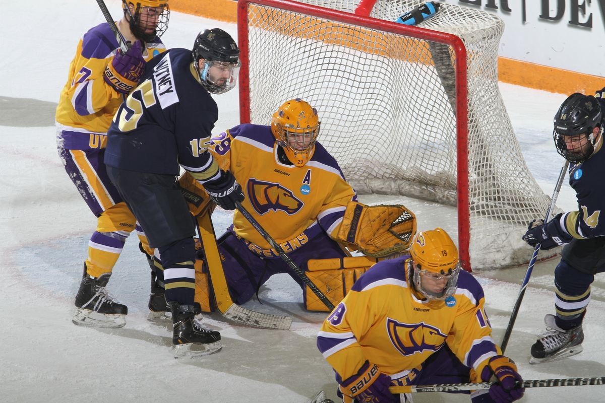 Brandon Jaeger, a former Champlin Park hockey standout, helped UW-Stevens Point reach a second-straight Division III title game. (Photo by Ryan Coleman, d3photography.com)