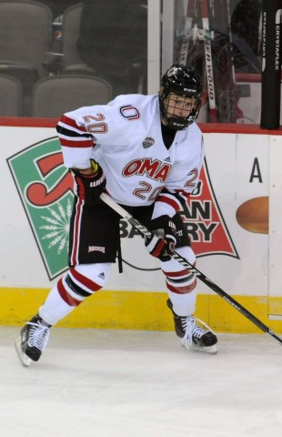 UNO's Jake Guentzel, a sophomore from Woodbury, Minn., leads the Mavericks in scoring with 38 points heading into the Frozen Four. (MHM file photo / Jordan Doffing)