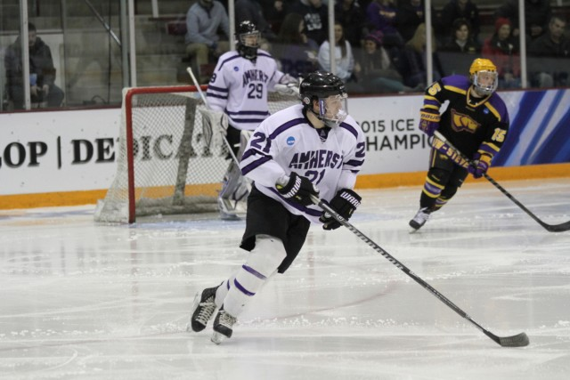 With an assist in Amherst's national semifinal loss to UW-Stevens Point, Brooklyn Park's Thomas Lindstrom tallied 16 points (5-11—16) as a freshman for the Lord Jeffs. (Photo by Ryan Coleman, d3photography.com)