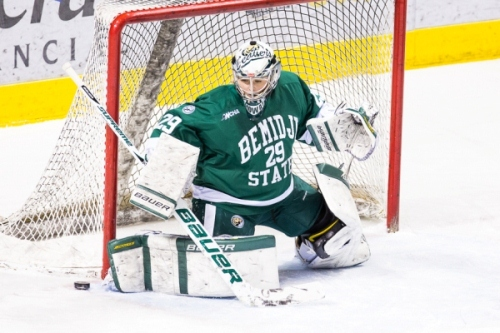 Bemidji State junior goaltender Brittni Mowat (MHM Photo / Brent Cizek)