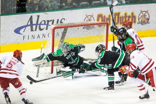 North Dakota senior goaltender Shelby Amsley-Benzie (MHM Photo / Brent Cizek)