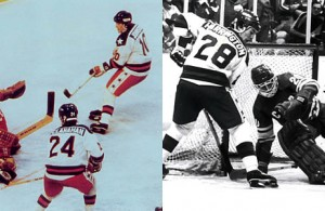 Mark Johnson and John Harrington in Olympic action. (Photos courtesy of USA Hockey)
