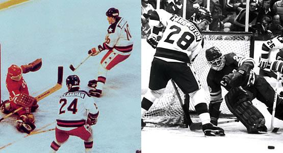 Mark Johnson and John Harrington in Olympic action. (Photos courtesy of USA Hockey)