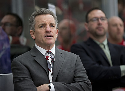 Wisconsin head coach Mark Johnson. (WCHA.com photo)