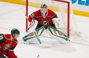 ST. PAUL, MN - DECEMBER 3: Devan Dubnyk #40 of the Minnesota Wild defends his goal against the Toronto Maple Leafs during the game on December 3, 2015 at the Xcel Energy Center in St. Paul, Minnesota. (Photo by Bruce Kluckhohn/NHLI via Getty Images)