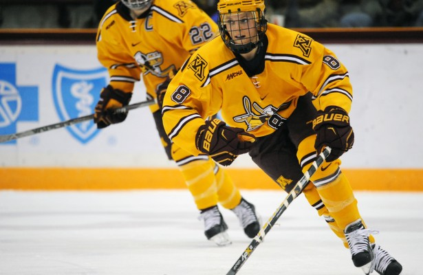 Star forward Amanda Kessel returned to the Gophers last week after nearly a three-year absence due to complications from a councussion she suffered training for the Olympics in 2014. (Photo by Nick Wosika)