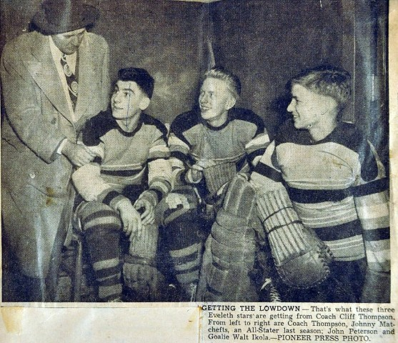 Ikola (R) with coach Cliff Thompson, Johnny Matchefts and John Peterson. The Pioneer Press caption misidentifies Ikola as Walt Ikola. (Photo courtesy of Ikola Archives - VintageMinnesotaHockey.com)