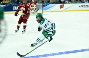 Burnsville native Brock Boeser helped his North Dakota team reach Saturday's Frozen Four title game with a pair of assists in UND's 4-2 win over Denver on Thursday night at Amalie Arena in Tampa, Fla. (Photo credit Russ Hons / UND Athletics)