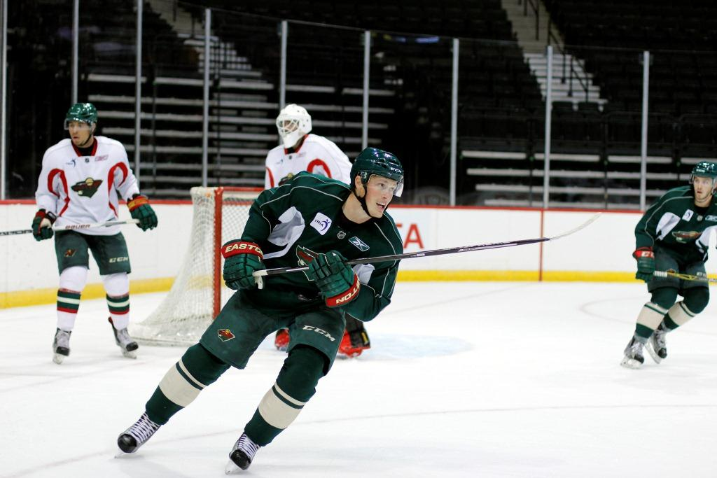 Nick Seeler skates during the Wild's open scrimmage on Thursday, July 14. (Photo courtesy of Minnesota Wild/Katlyn Gambill)