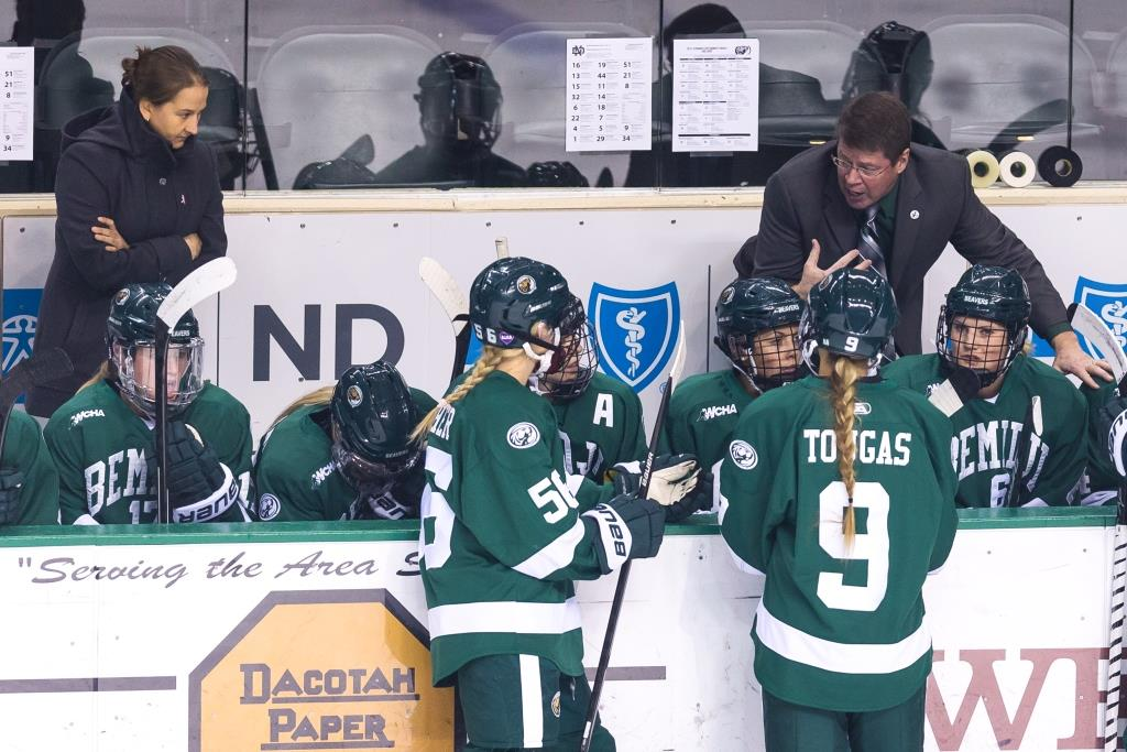 Bemidji State women's assistant coach Amber Fryklund (left) took an unusual route to Head Coach Jim Scanlan's (right) staff. Photo by Brent Cizek