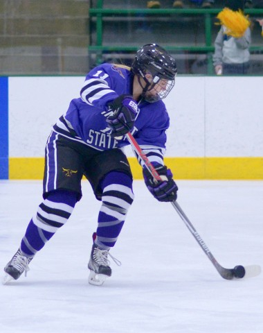 Minnesota State sophomore Corbin Boyd (Minnetonka) scored twice against No. 2 Minnesota in a Jan. 8 game at Edina's Braemar Arena. (Photo courtesy of Minnesota State University Athletics / Mark Vasey)