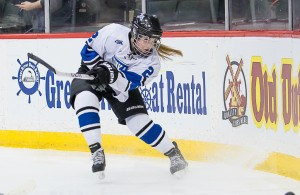 Senior co-Captain Camille von Steinbergs leads her Minnetonka teammates into a Hockey Day Minnesota clash with Stillwater on Saturday. (MHM photo / Jonny Watkins)