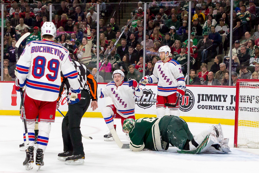 New York Rangers LW Jimmy Vesey celebrates what ultimately became the game winner in the second period of New York's 3-2 win over the Minnesota Wild on Saturday, March 18 at the Xcel Energy Center. (MHM Photo / Jonny Watkins)