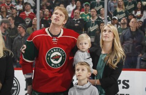 ST. PAUL, MN - APRIL 4: Eric Staal #12 of the Minnesota Wild is joined on the ice by his family in a ceremony honoring him for playing his 1000th career NHL game prior to the game against the Carolina Hurricanes on April 4, 2017 at the Xcel Energy Center in St. Paul, Minnesota. (Photo by Bruce Kluckhohn/NHLI via Getty Images)