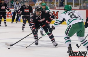Jonny Brodzinski and St. Cloud State get a second opportunity in just over a week to knock off North Dakota in Saturday's West Regional final in Fargo for a trip to the Frozen Four. (MHM Photo / Jeff Wegge)